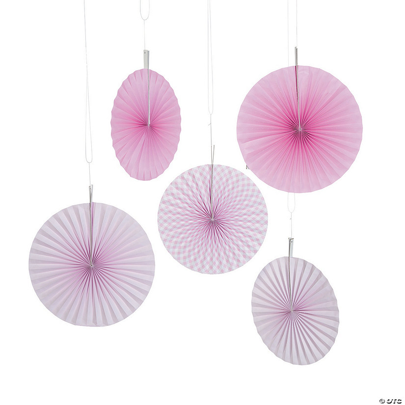 Light Pink Gingham Hanging Fans