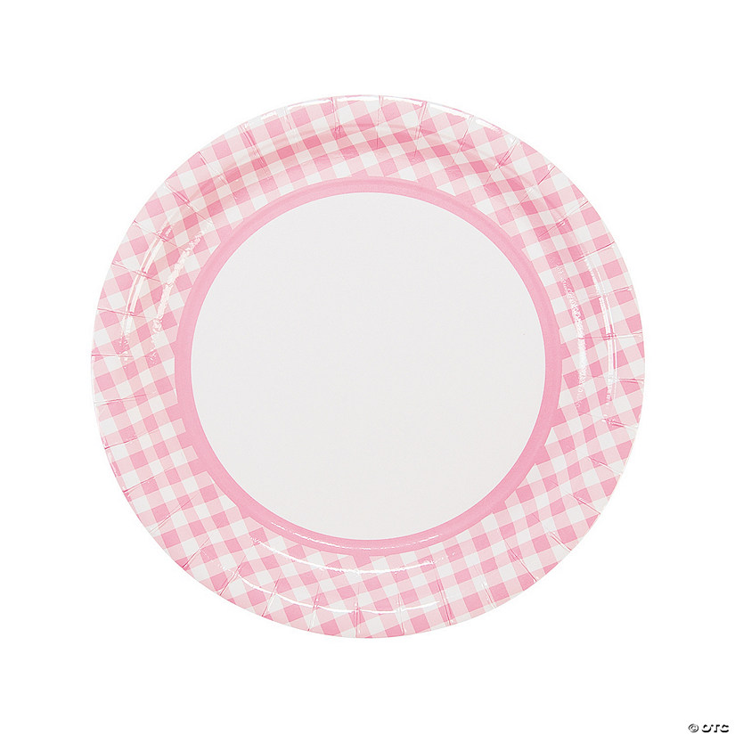 Light Pink Gingham Paper Dinner Plates