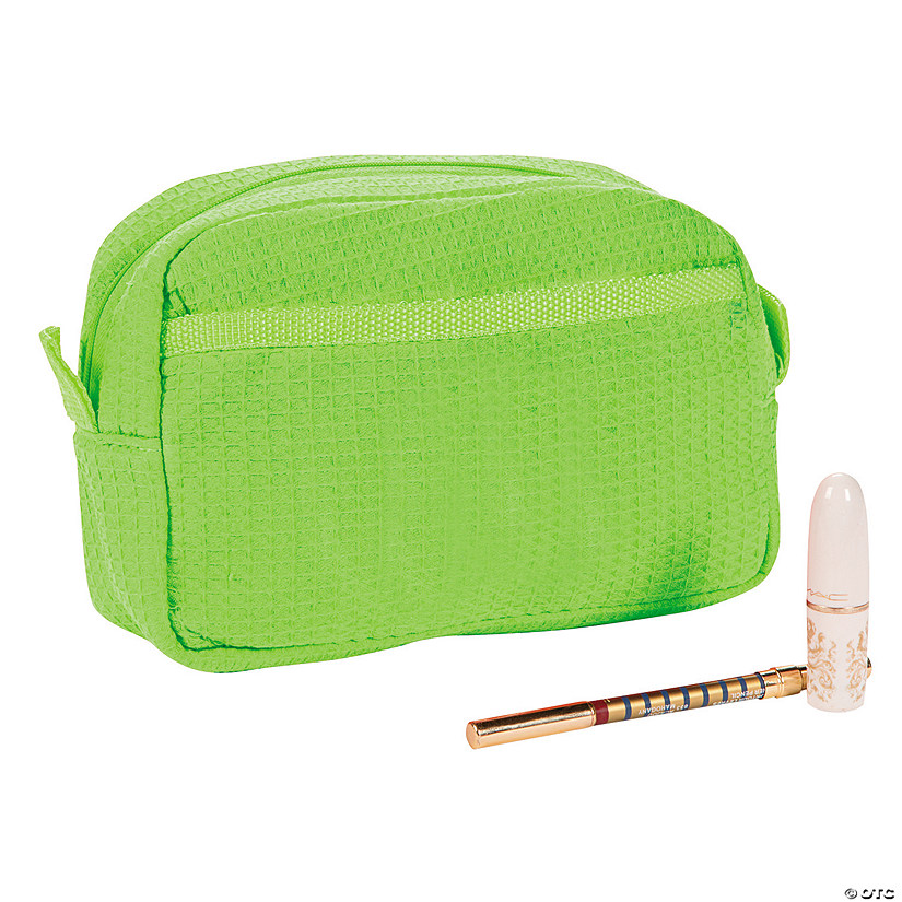 Lime Green Waffle Weave Cosmetic Bag