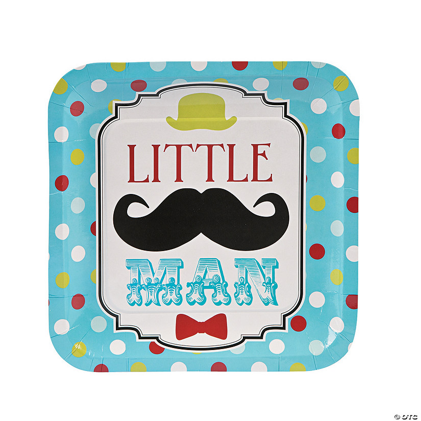 """Little Man"" Paper Dinner Plates"