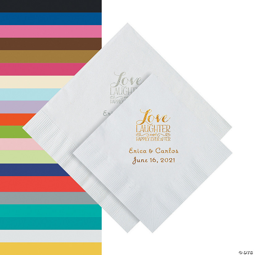 Love Laughter & Happily Ever After Personalized Napkins - Beverage or Luncheon