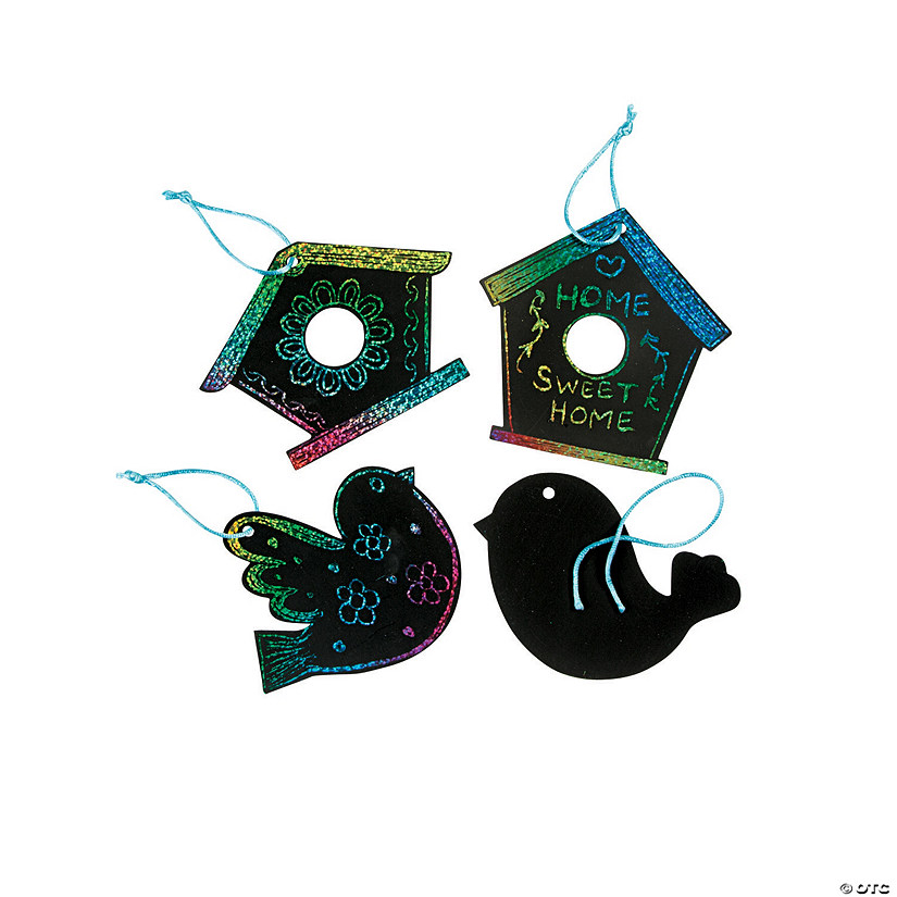 Magic Color Scratch Birdhouse Ornaments