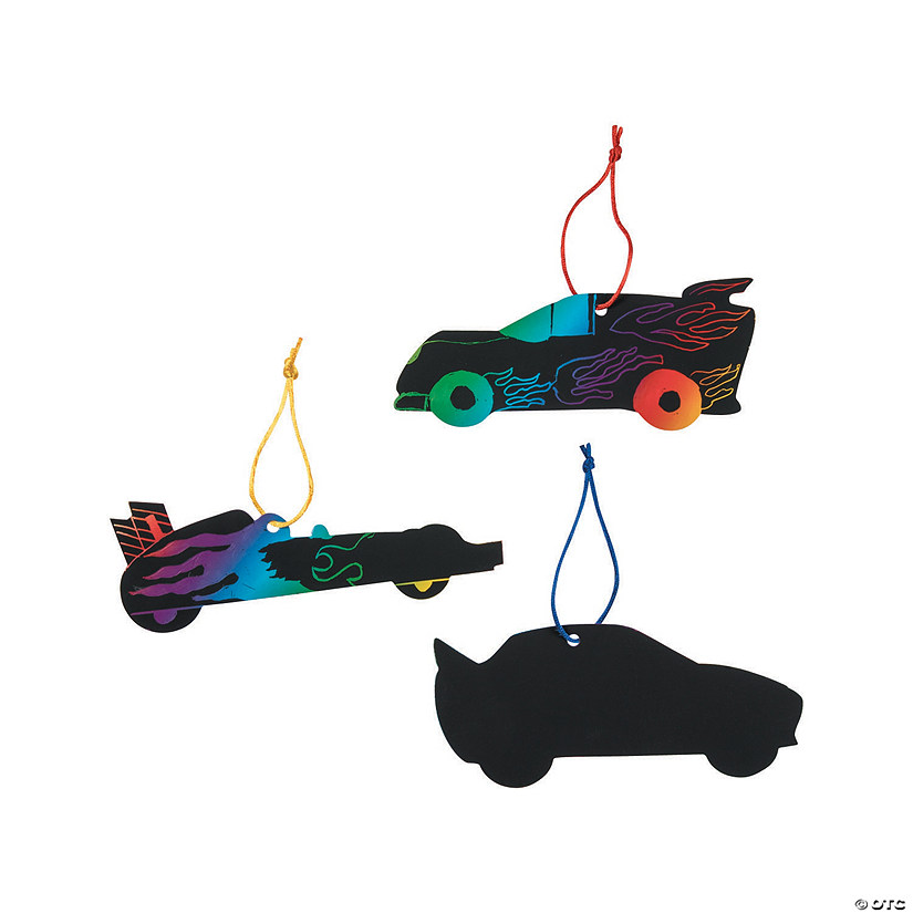 Magic Color Scratch Race Car Ornaments