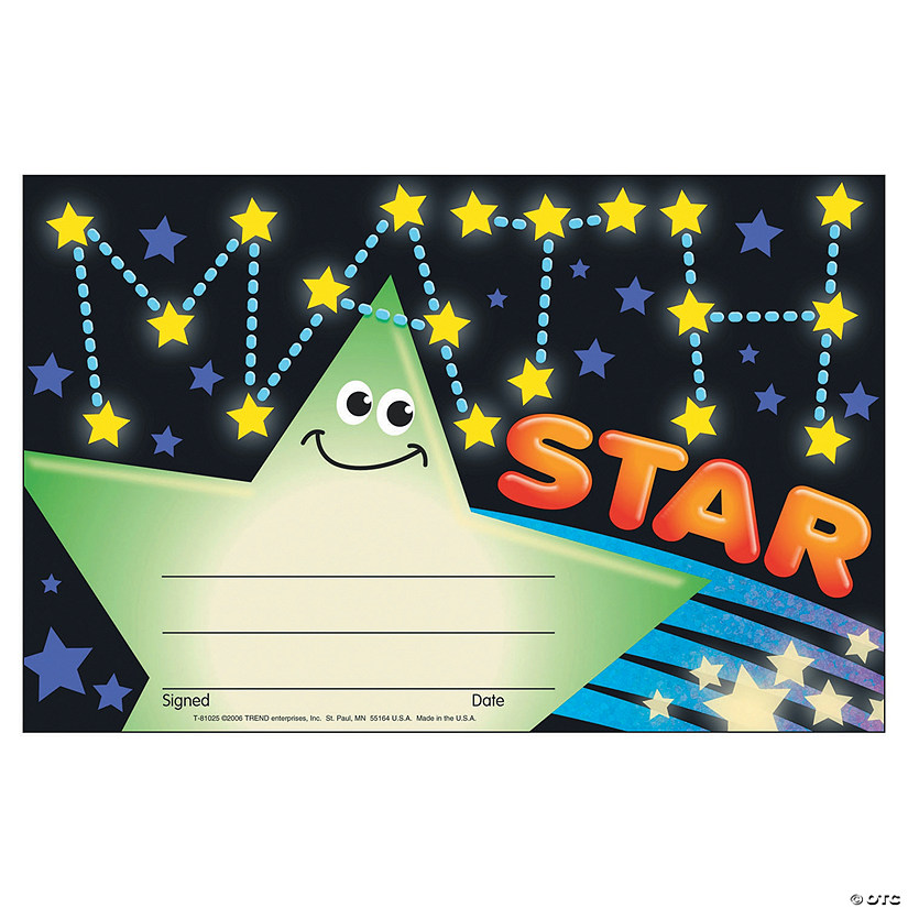 Math Star Award Certificate - 30 per pack, 12 packs