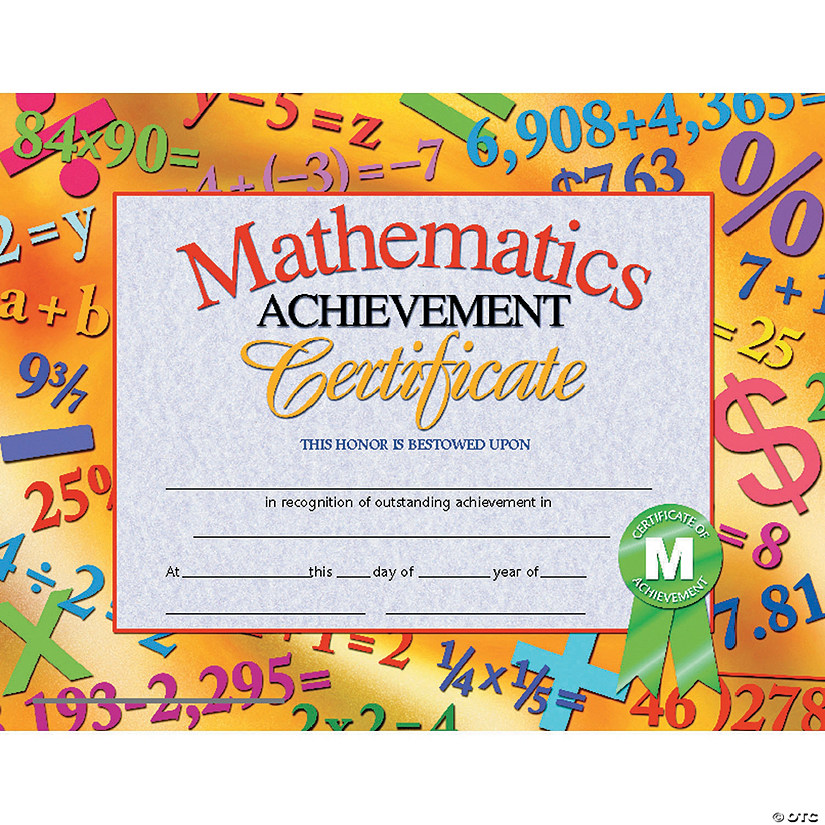 Mathematics Achievement Certificate, 30 per Pack, 6 Packs