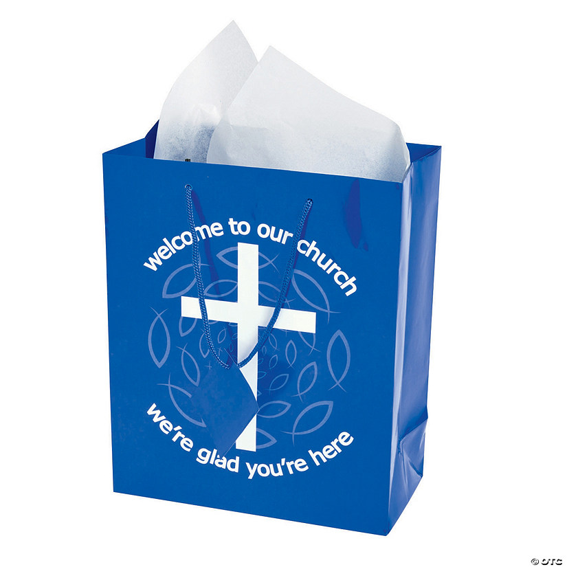 Medium Blue Welcome to Our Church Gift Bags with Tags