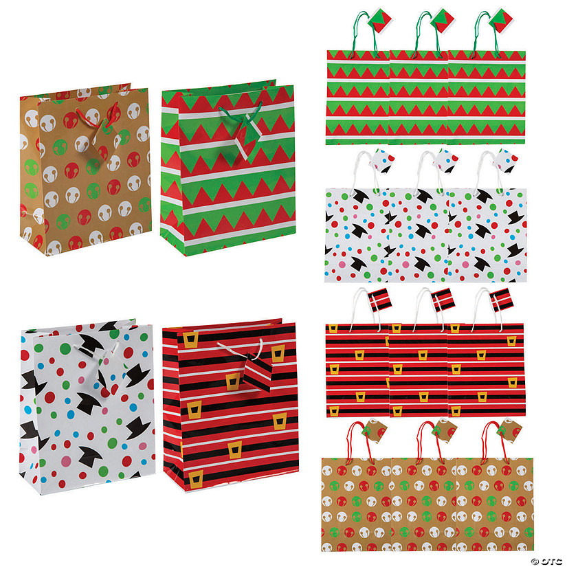Medium Cheery Christmas Gift Bags with Tags