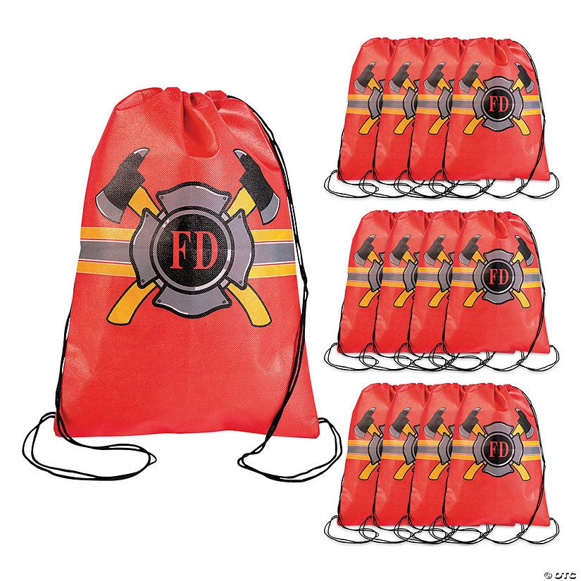 Medium Firefighter Party Drawstring Bags