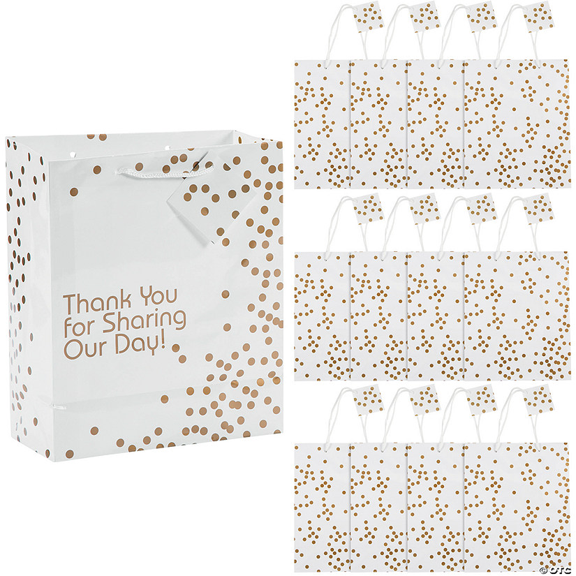 Medium Gold Wedding Dot Gift Bags with Tags