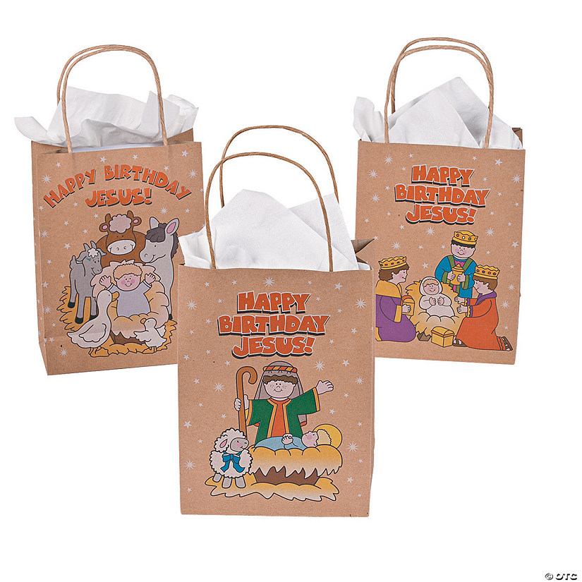 "Medium ""Happy Birthday Jesus!"" Kraft Paper Gift Bags"