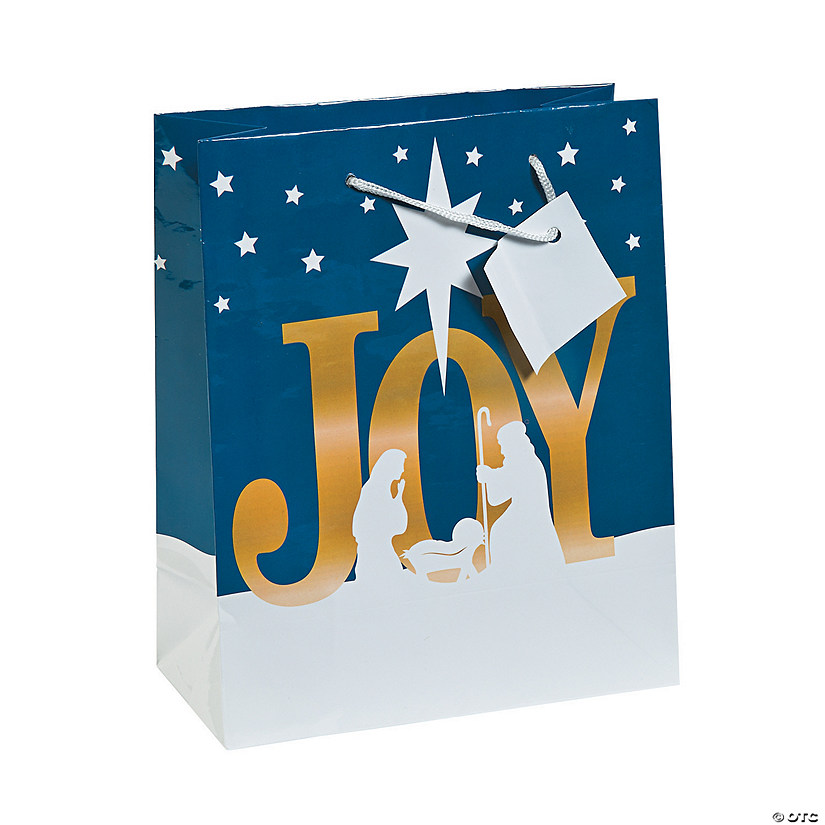 Medium Joy Nativity Gift Bags with Tags