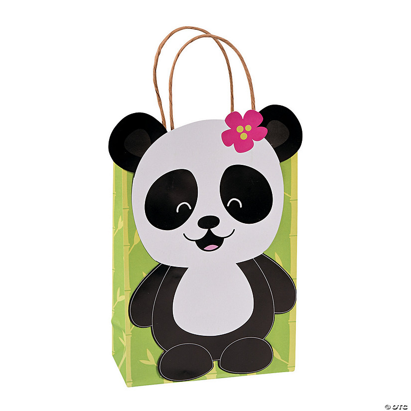 Medium Panda Party Kraft Paper Gift Bags
