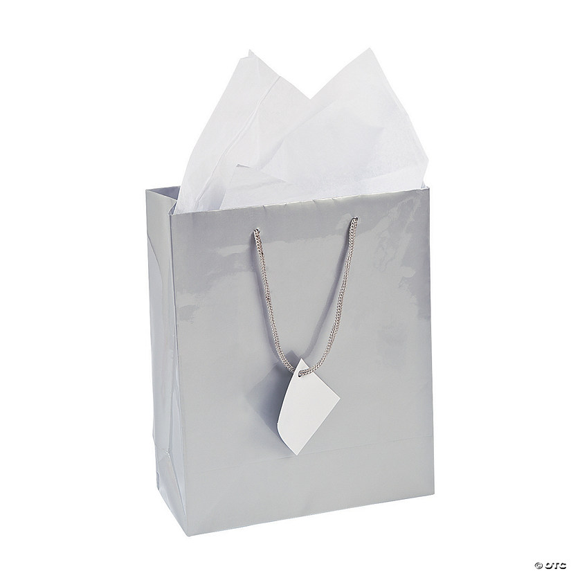 Medium Silver Gift Bags with Tags