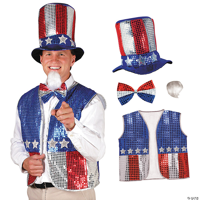Men's Patriotic Uncle Sam Costume Set