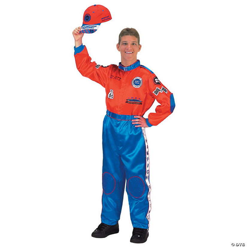 Men's Red and Blue Racing Suit Costume