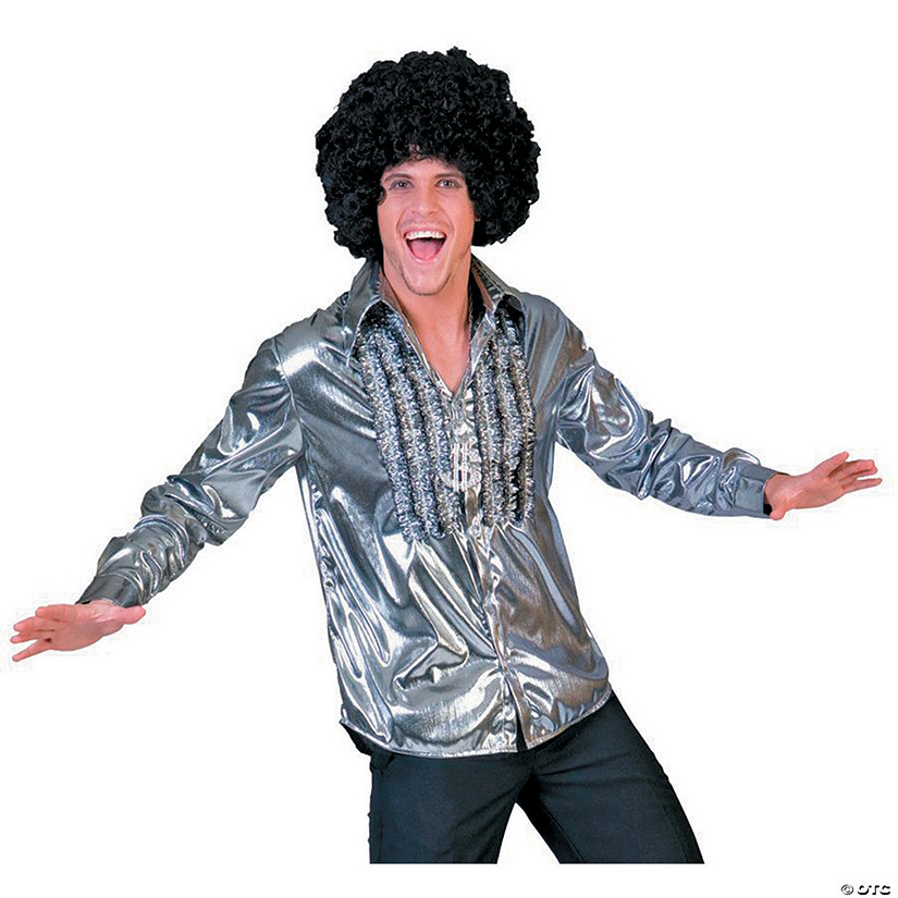 Men's Silver Saturday Night Fever Shirt Costume
