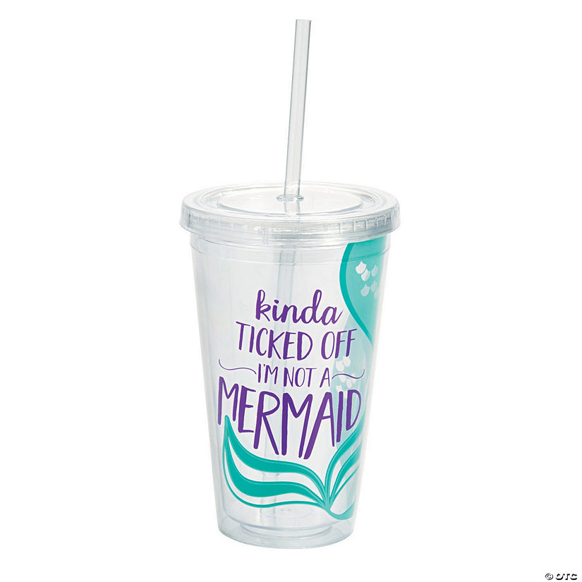 Mermaid Plastic Tumbler with Straw