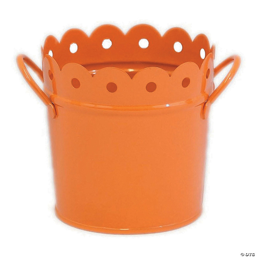 "Metal Scalloped Bucket 6""X6""-Orange"