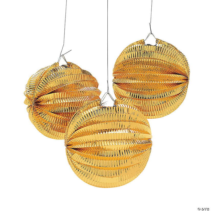 Metallic Gold Balloon Hanging Paper Lanterns