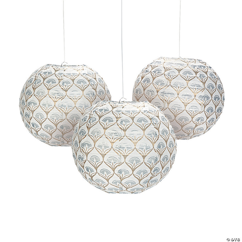 Metallic Lily Hanging Paper Lanterns