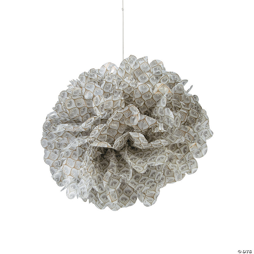 Metallic Lily Hanging Tissue Paper Pom-Pom Decorations with Grommet