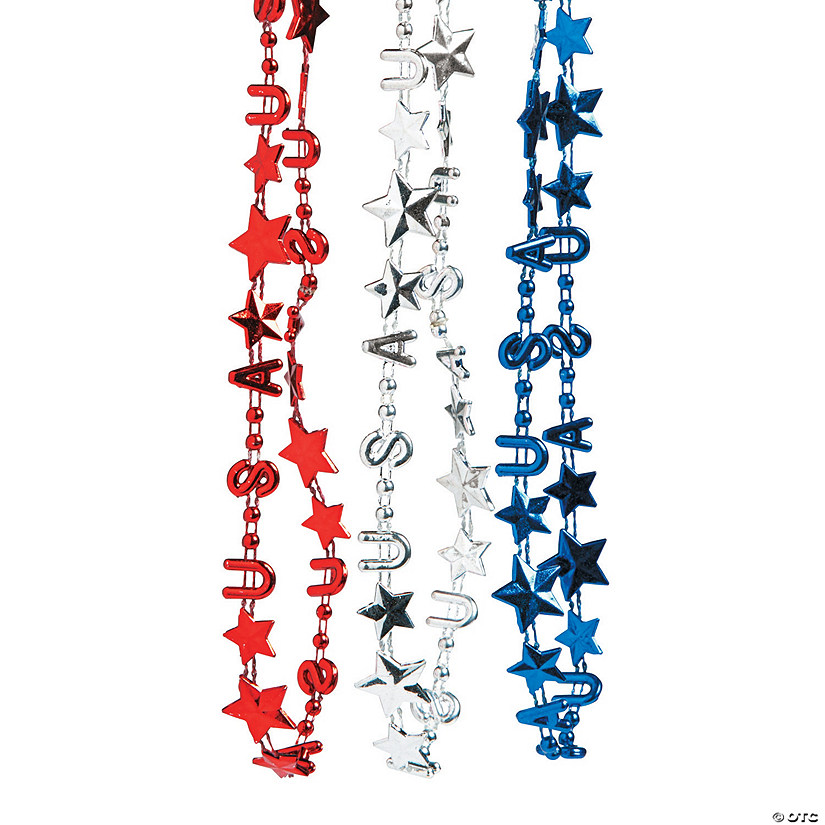 Metallic Patriotic USA Bead Necklaces
