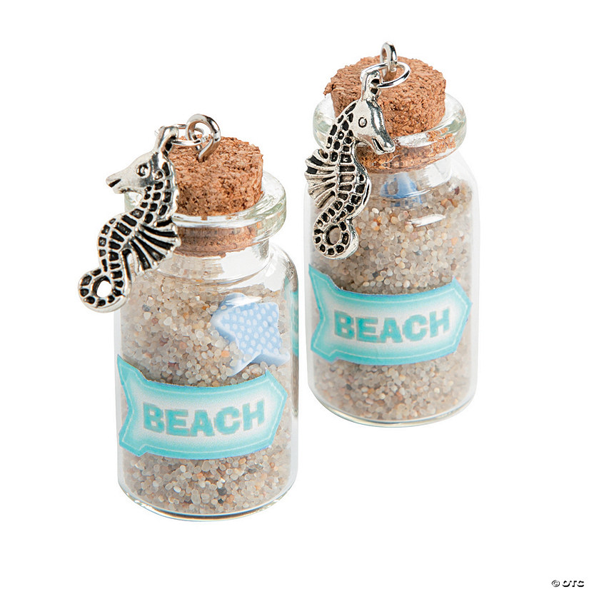 Mini Beach Bottle Charms with Cork Stopper