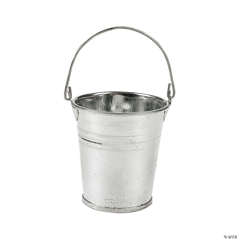 Mini galvanized metal pails for Galvanized metal buckets small
