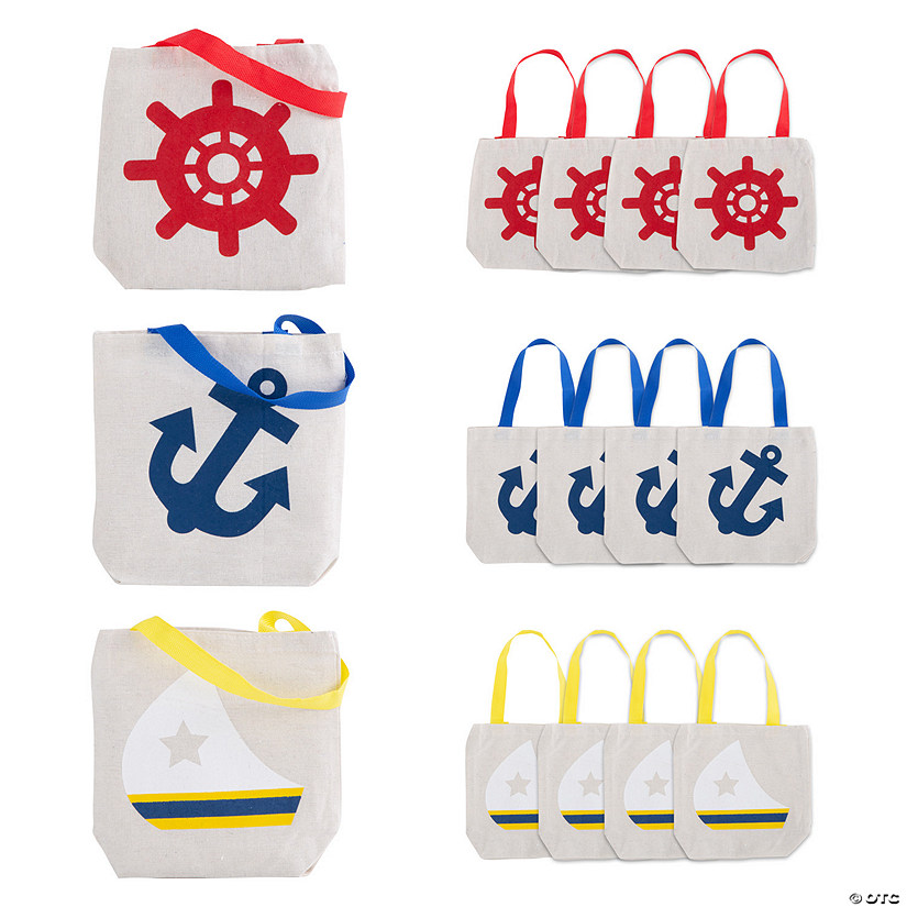 Mini Nautical Canvas Tote Bags