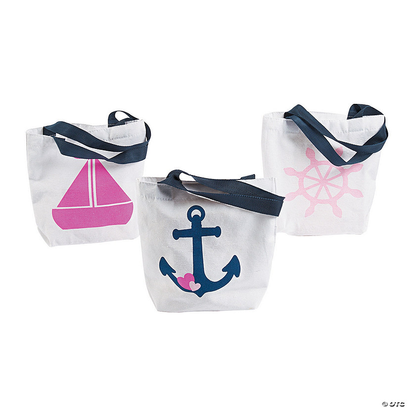 Mini Nautical Girl Tote Bags