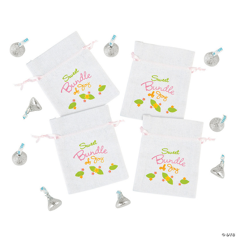 Mini Owl Baby Shower Canvas Drawstring Treat Bags