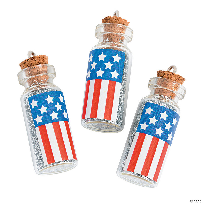 Mini Patriotic Bottle Charms with Cork Stopper