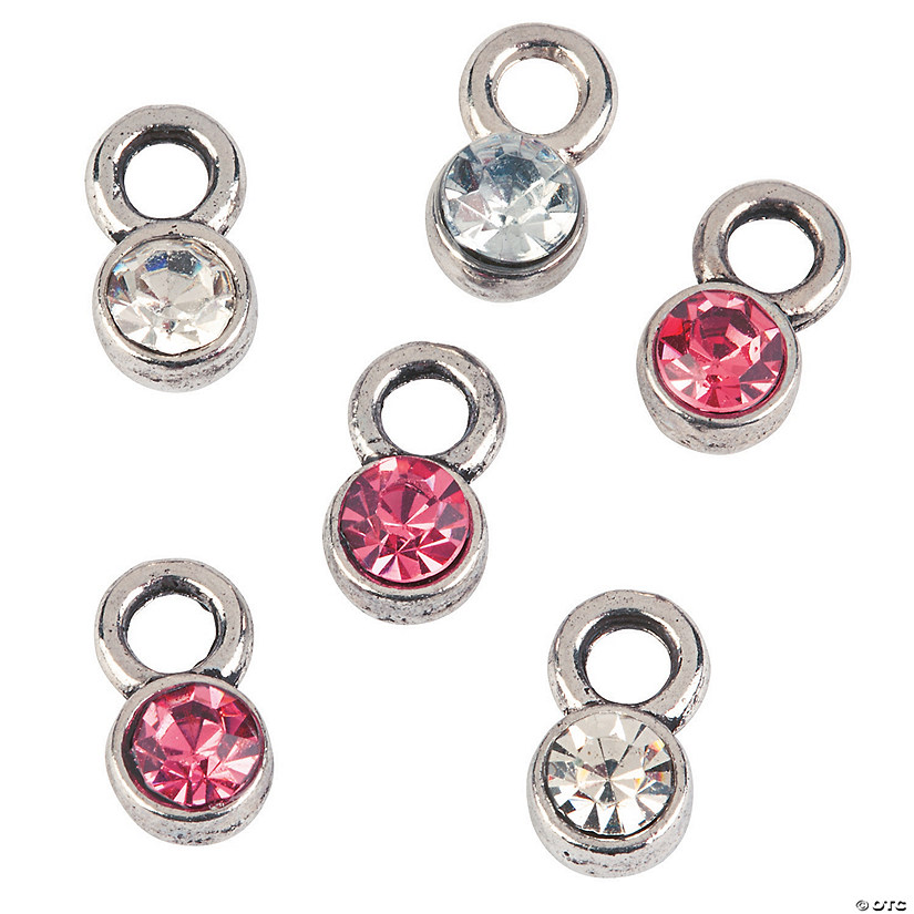 Mini Pink Ribbon Rhinestone Charms
