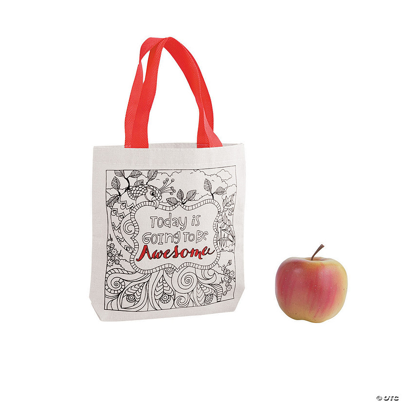 Mini Printed Scene Canvas Tote Bags