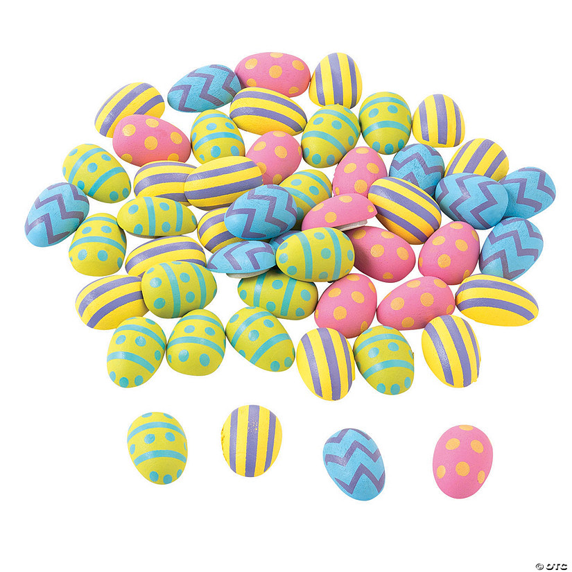 Mini Self-Adhesive Wooden Easter Eggs