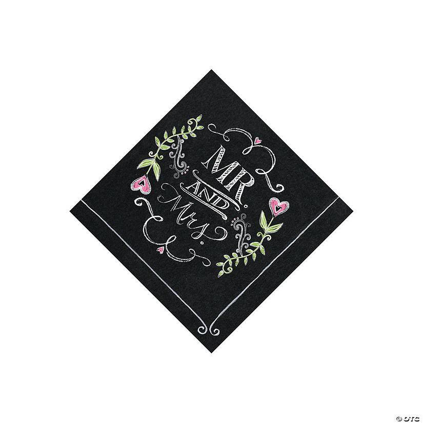 Mr. & Mrs. Chalk Beverage Napkins