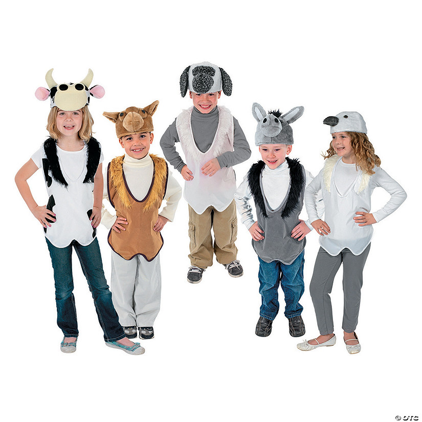 Nativity Costume Animal Slip-On Vest & Hat Sets