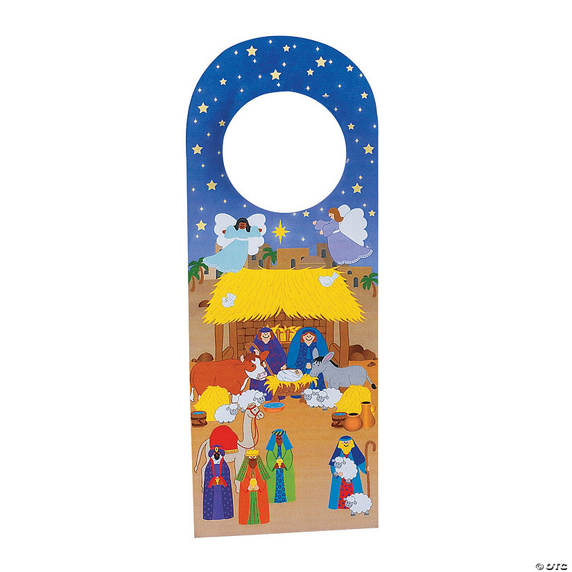 Nativity Doorknob Hanger Sticker Scenes