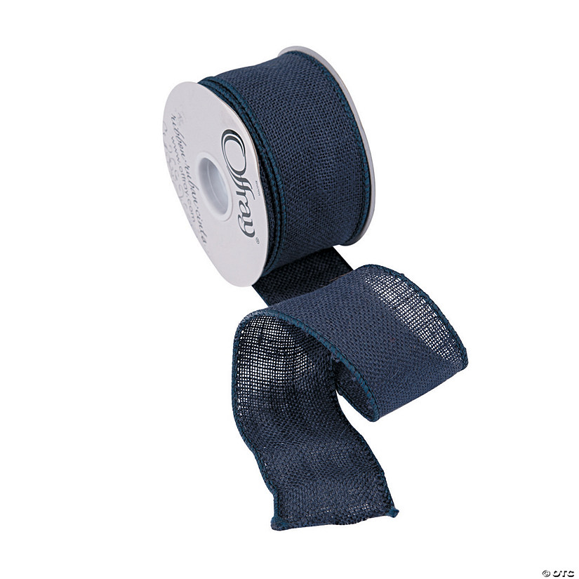 Navy Blue Burlap Ribbon - 2 1/2""