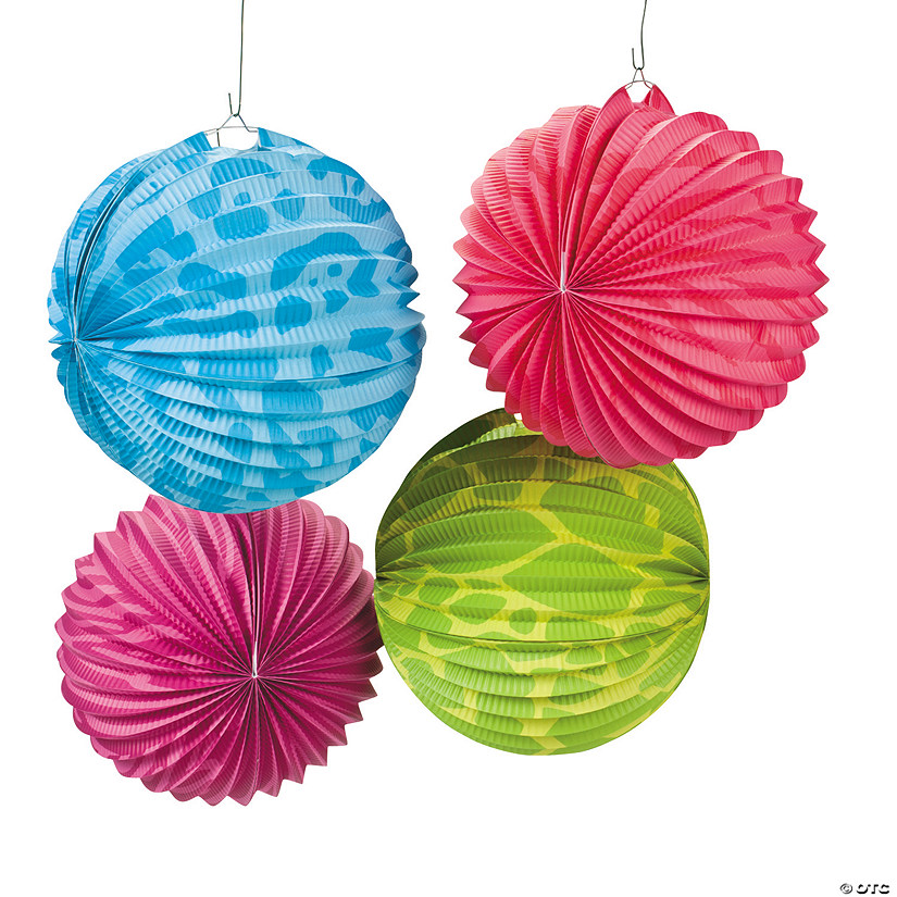 Neon Animal Print Hanging Paper Lanterns