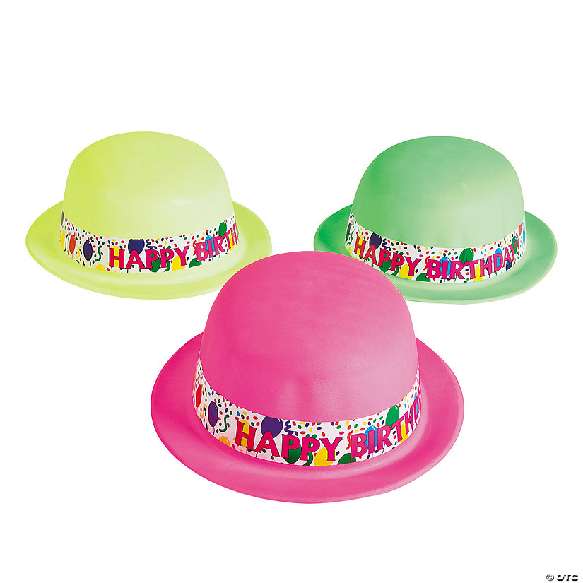 Neon Happy Birthday Derby Hats