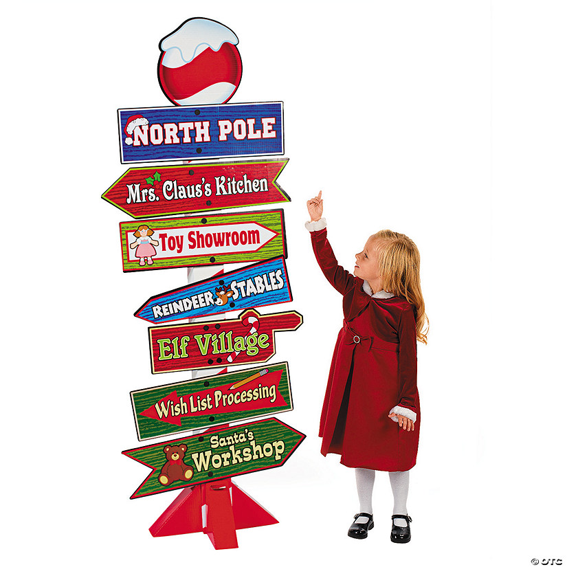 North Pole Directional Sign Cardboard Stand-up