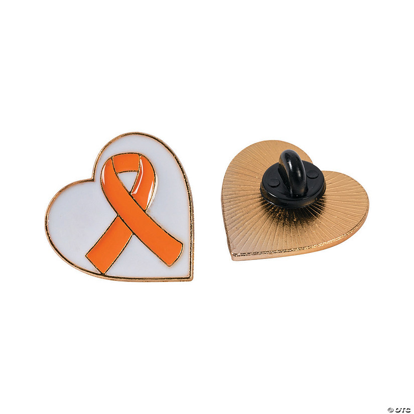 Orange Awareness Ribbon Heart Pins