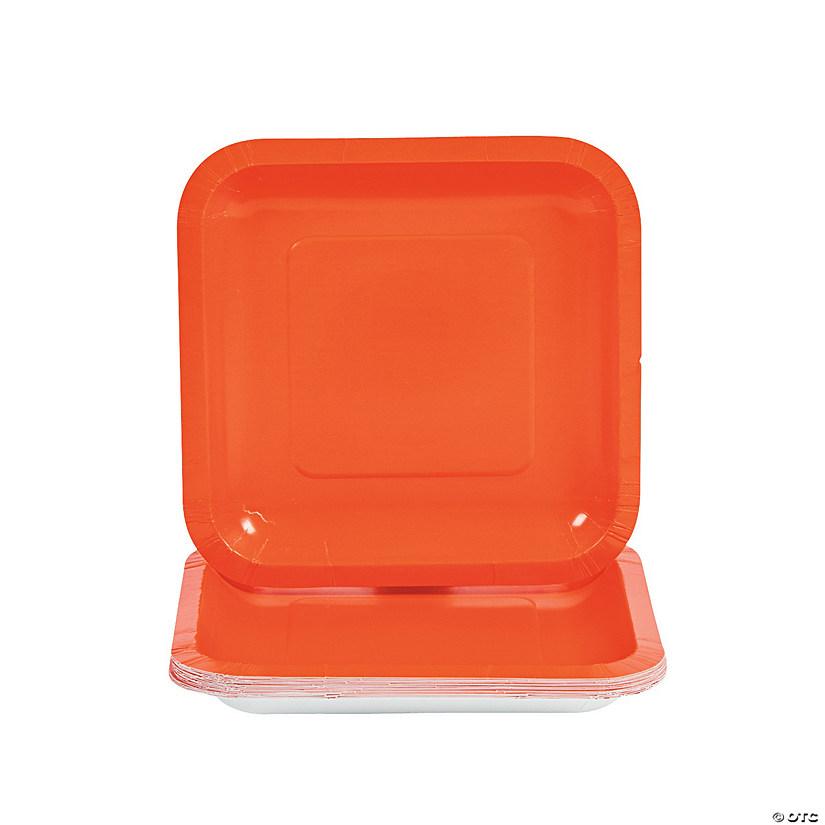 Orange Square Paper Dessert Plates