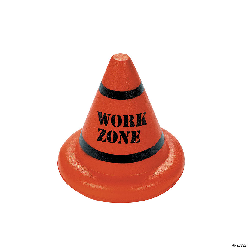 Orange Work Zone Cone Stress Toys