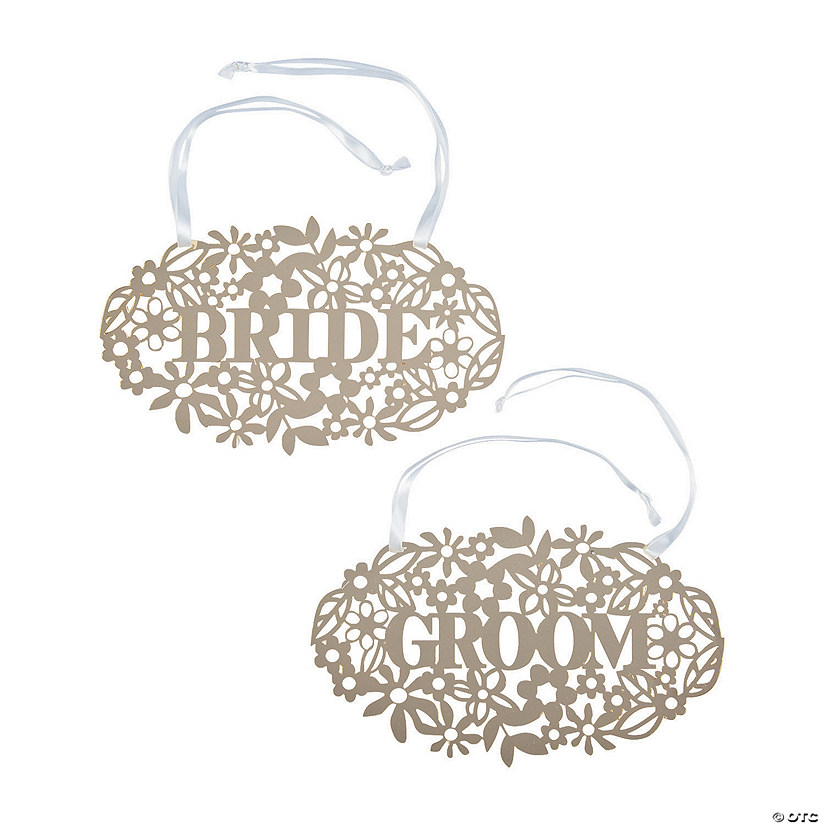 Ornate Bride & Groom Chair Signs