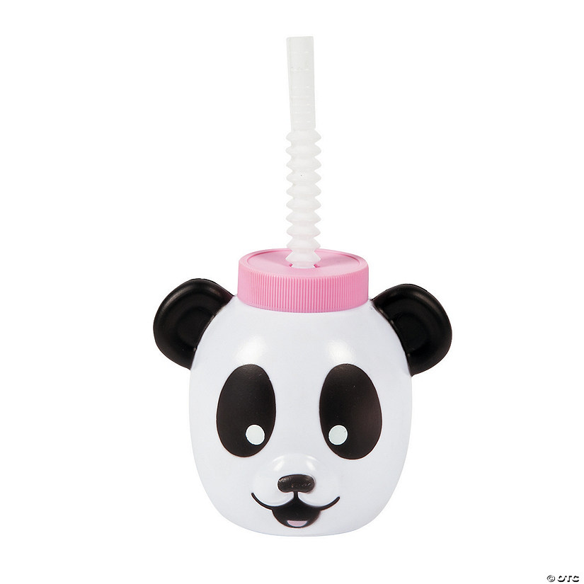 Panda Molded Plastic Cups with Lids & Straws