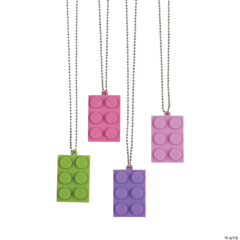Pastel Color Brick Dog Tag Necklaces
