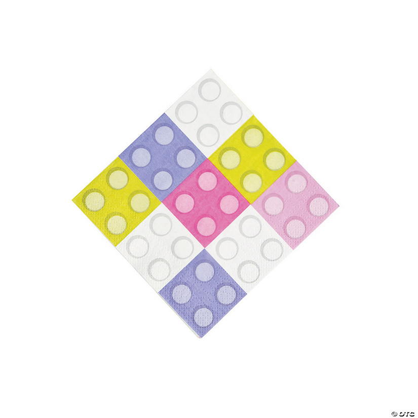 Pastel Color Brick Party Beverage Napkins