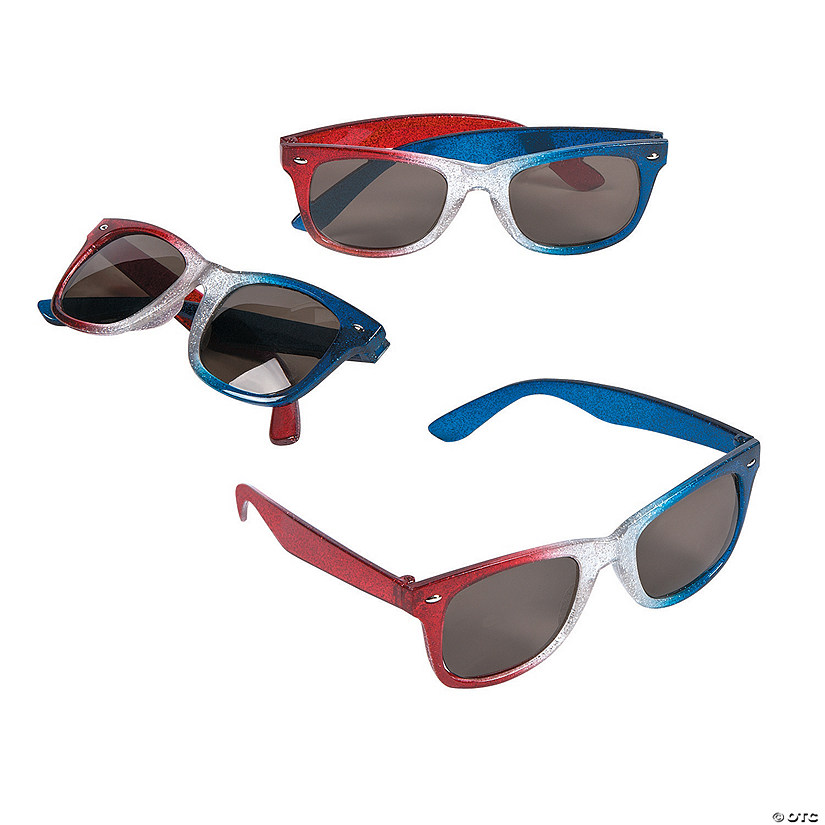 Patriotic Glitter Nomad Sunglasses - 12 Pc.